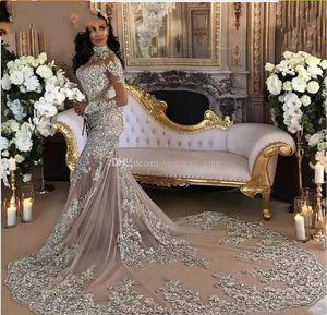 Yeni Gümüş Denizkızı Gelinlik Yüksek Yaka Uzun Kollu Aplike Pullarda Boncuklu Illusion Pırıltılı Suudi Arapça Gelin Kıyafeti Gerçek Görüntü