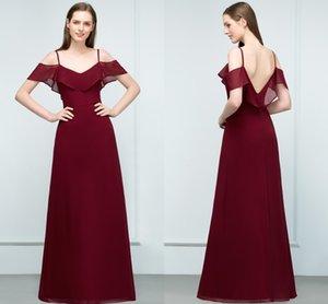 New Designer Dresses Prom 2018 Cheap Burgundy Chiffon A-Line Off Shoulder Backless Convidado de Casamento vestidos longos Partido Vestidos Vestido CPS804