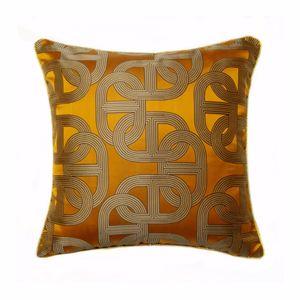 Kostenloser Versand Zeitgenössische Dunkelorange Geometrische Kissenbezug Modern Square 45x45 cm Seil Pipping Jacquard Woven Home Boden Sofa Kissenbezug