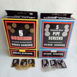 황동 화면 흡연 액세서리 스테인레스 스틸 화면 실버 / 골든 컬러 20mm 금속 담배 파이프 도구 액세서리 500pcs / lot