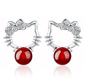 Agate Stud Earrings Crystal Halo Cat Stud Bohemian Kitty 925 Sterling Silver Stud Wedding Earrings For Women Korean Jewelry