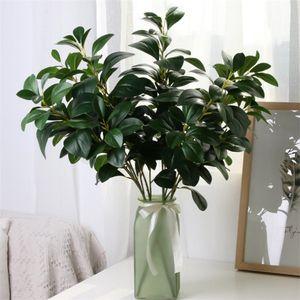 Falso tallo largo Berro Hoja Verde Verde simulación real de las plantas Hojas Touch para las plantas boda escaparate decorativo artificiales