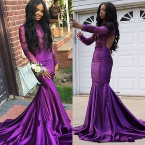 Саудовские арабские Фиолетовые Русалка Вечерние платья с длинным рукавом замочную аппликациями сатин длинными рукавами платье Sexy Open Back Black Grils Формальное платье