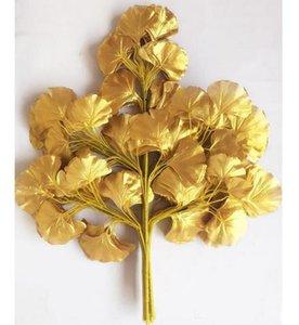 60 см Гинкго Билоба лист пять ветвей Maidenhair деревья листья искусственного дерева Шелковая ветвь стволовых свадебные украшения сада GA161