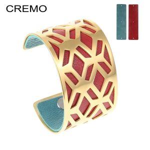 Cremo Fischnetz Edelstahl Armbänder Stahl Farbe Manschette Armreifen Reversible PU Leder Pulseira Feminina Für Fomen