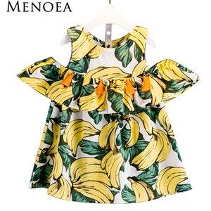 Menoea Kız Elbise 2017 Yeni Yaz Tarzı Çocuk Giyim Çocuklar Elbise Bebek Kız için Muz Desen Baskı Elbise Kız Giysileri