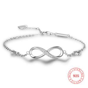 Echte 925 Sterling Silber endlose Armbänder Valentinstag Geschenk Hochzeit CZ Unendlichkeit Armband unendlich Schmuck für Mädchen Frauen