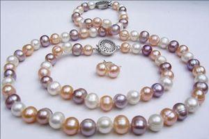 Echte 8-9mm natürliche Multicolor Akoya Zuchtperlen Halskette Armband Ohrringe