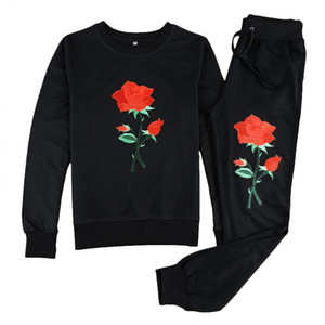 Rose Printed Women Tracksuits Crew Neck Floral Embroidery Casual Suit Hoodies With Jogger Pants 2pcs Costume Set For Autumn Winter