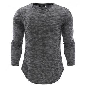 Camisetas de punto para hombres Otoño Invierno Slim Tops grises largos Camisetas de moda de estilo coreano Ropa