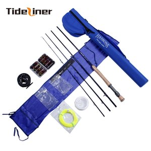 Tideliner caña de pescar Fly set Combo Kits 2.7M cañas de pescar con mosca 5/6 fibra de carbono carrete de aluminio carrete señuelos de pesca líneas polo
