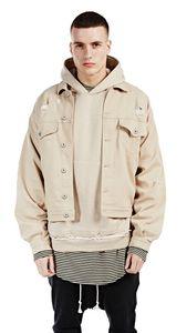 Street Fashion Style per autunno e inverno BEIGE Apricot Camel Frayed Shoulder Uomo Giacca in denim casual tinta unita