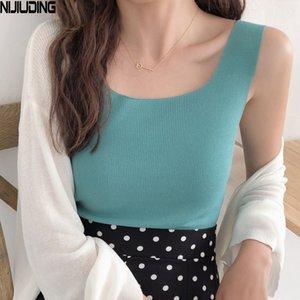 NIJIUDING Mujeres Moda Slim Camisole Summer Knitting Tank Tops Bodycon sin mangas camisola con Shinning rayón de punto