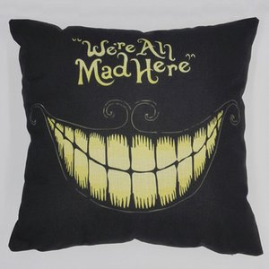 """Cotton Square Halloween Smile Cushion Pillow """"We'Re All Mad Here"""" Pillow Case Cushion Cover Christmas Decorations Home"""