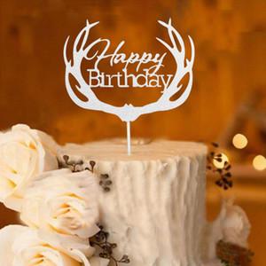 """4 가지 색상 Antler """"Happy Birthday""""레터 케이크 토퍼 - 생일 케이크 파티 장식 - Kids Cake Toppers Party Supplies"""