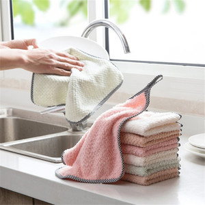 Ткань чистки кухни Microfiber отсутствие ткани тарелки ткани корпии absorbent двойная-габаритная ткань чистки бархата ватка коралла