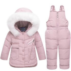 2018 Conjunto de Roupas infantis de Inverno Bebê Menina Jumpsuit Down Jacket para Meninos Casaco Roupas Engrossar Esqui Terno De Neve
