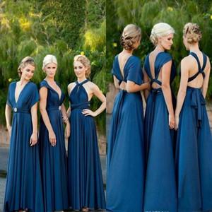 الأزرق وصيفة الشرف للتحويل طويل 2018 رخيصة ألف خط الطيات الساخن حفل زفاف العباءات عالية الجودة وصيفة الشرف فساتين
