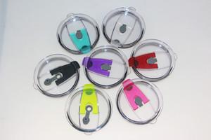 30oz 컵 뚜껑을위한 다채로운 20oz / 30oz 컵 뚜껑 새 PVC 씰링 커버 누출 방지 짚 구멍이있는 튀김 방지 유출 캡
