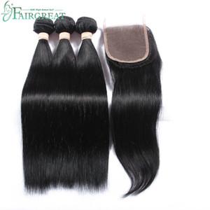 Brezilyalı Düz İnsan Saç Kapatma Ile 100% Işlenmemiş Bakire Huamn Saç Örgü 3 Demetleri Ile Dantel Kapatma Doğal Renk Toptan fiyat