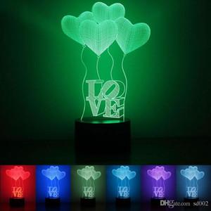 Lindo 3D Light Heart Shape Balloon Colorido Cambio de luces LED acrílico Plastic 1.5w Night Lamp para el día de San Valentín Mejores regalos 28rm ZZ
