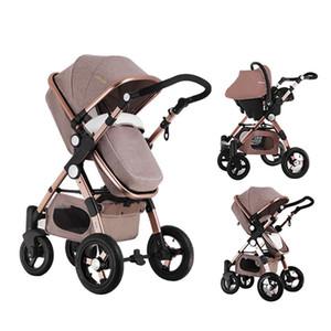 Yenidoğan Yüksek Görünüm Pram için Bebek Arabası 2 in 1 Katlanır Bebek Arabası Seyahat Sistemi carrinho de bebe 2 em 1
