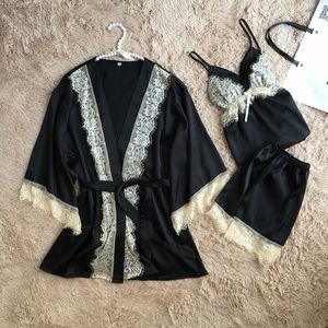 Solido pigiami delle donne sexy del merletto degli indumenti da notte femminile pigiama di raso estivo per Pigiama di seta elegante Donne Pijama kimono di alta qualità