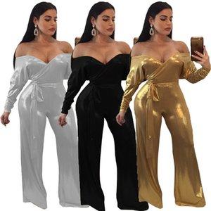 Женская мода Sexy Leisure Комфортные и свободные комбинезоны сплошной цвет золото полиэфирное волокно Штамповка Брюки Спящая красавица