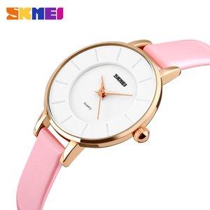 SKMEI Elegant Qaurtz Ladies Watch Fashion Simple Leather Bracelet Womens Watches Casual Rose Gold Wristwatches Montre Femme 1178