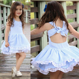 сладкий Девочка лето Dress дети синий полосатый Backless Bowknot Princess Dress дети мода кружева цветок хлопок платья