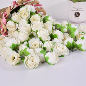 100 UNIDS 3 CM Seda Cabeza de Flores Artificiales Para Decoración de Bodas Caja de Regalo de la Guirnalda DIY Craft Fake Artificial Rose Bud Head flores