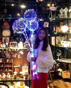 Светящийся воздушный шар Бобо с палкой 3 метра LED Light Up прозрачные воздушные шары с палкой полюса для праздничных украшений
