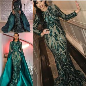 Hunter Green Sequins Prom Formal Dresses with Detachable Train Luxury Puffy Skirt Mermaid Kim kardashian Dubai Arabic Evening Gown