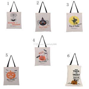 Halloween-Leinwand taschen Karikatur Handtaschen mit Kürbis / Teufel / Spinne Halloween-Weihnachtsgeschenke 6 Arten C2379