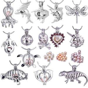 L'amour souhaite perle cages médaillon avec perle de riz naturel creuser le crâne / tortue / angle / libellule / poisson / chèvre / pour collier de bricolage bijoux de mode PP06