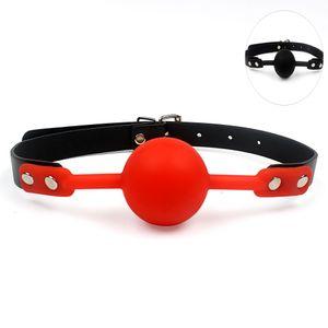 Erwachsene Spiele Mundknebel Silikon Kugel Orale Fixierung PU Lederband Bondage Fesseln 2 Farben Sexspielzeug für Paare