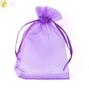 CSJA 12 Couleurs 10x15cm Pochettes Dessinables Pochette En Soie Organza Cadeau Sacs Décoration De Fête De Mariage Bijoux Perles Lâches Emballage Sac 10pcs F635
