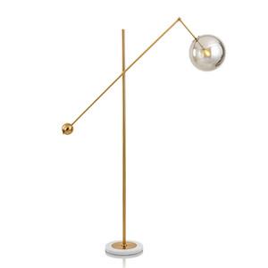 LED FLOOR LAMP Moderne Innenbeleuchtung Wohnzimmer Beleuchtung Morden Light Metal Galvanik Glaskugel Lampenschirm Marble Base
