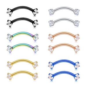 Tragus orecchino internamente cubico Zircone in acciaio inossidabile curvo Barbell Piercing Sopracciglio Anello gioielli per il corpo