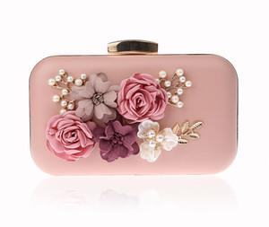 2018 New 3D Flower Evening Bags Wedding Pearl Handbag Chain Bag Lovely Pink Banquet Bag Clutch