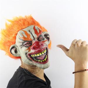 Halloween Horrible Creepy Terrifying Realistic Flame Payaso Máscara de Disfraces Suministros Cosplay Disfraces Party Props
