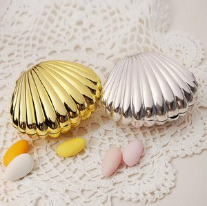 Caixas De Doces Do Casamento Shell Conch Caixas De Casamento Titulares Favor Do Favor De Ouro Caixas De Presente De Prata
