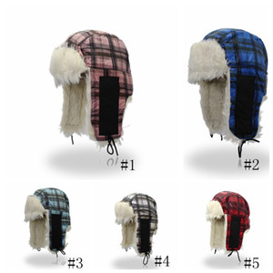 Winter fur Lei Feng hat plaid earmuffs caps ear protection couple thickening hats winter Lei Feng plaid hat GGA1073