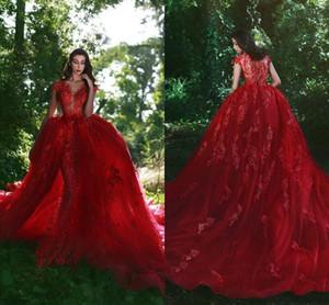 Rote Ballkleider Perlen Kristalle Brautkleider Nach Maß Schatz Puffy Brautkleid Vestidos Braut Brautkleid Billig