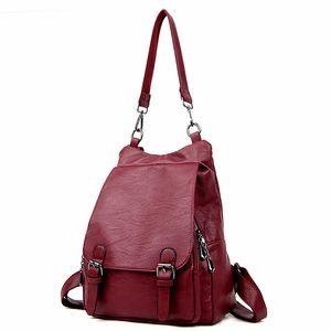 Горячий 2018 новый стиль сплошной цвет PU кожаный женский рюкзак повседневная девушка школьная сумка многофункциональный ноутбук сумка изысканный рюкзак
