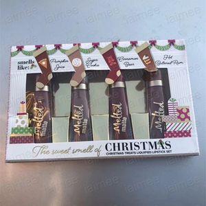 Dropshipping 2018 크리스마스 선물 새로운 메이크업 크리스마스의 달콤한 향기가 액상 립스틱 세트 4 가지 색상 Melted Matte Lipgloss Kit