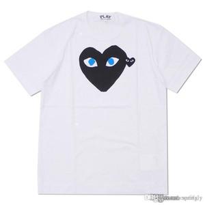 2018 Los más nuevos hombres COM diseñadores camiseta blanco negro corazón des Garcons camiseta blanca de los hombres Green Heart gráfico de impresión de gran tamaño camiseta