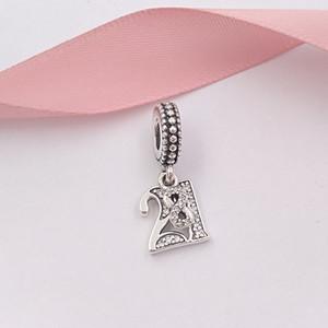 Autêntica 925 libras esterlinas grânulos de 21 anos de encantos Amor único estilo europeu jóia de Pandora pulseiras Colar 797263CZ