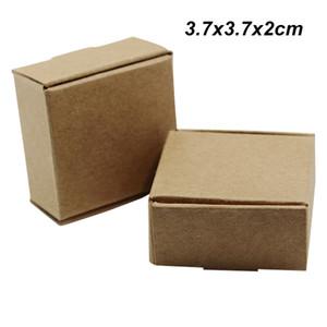 Brown 50 pçs / lote 3.7x3.7x2 cm caixas de Presentes de Casamento de Papel Kraft para o Ornamento Da Jóia Do Cartão Do Biscoito Artesanal Sabonete Embalagem De Armazenamento De Doces Caixas