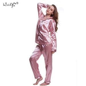 زائد الحجم 5xl منامة مجموعات 2018 النساء homewear مثير منامة الحرير الحرير طويل الأكمام فام الرقبة النوم نوم Y18101601